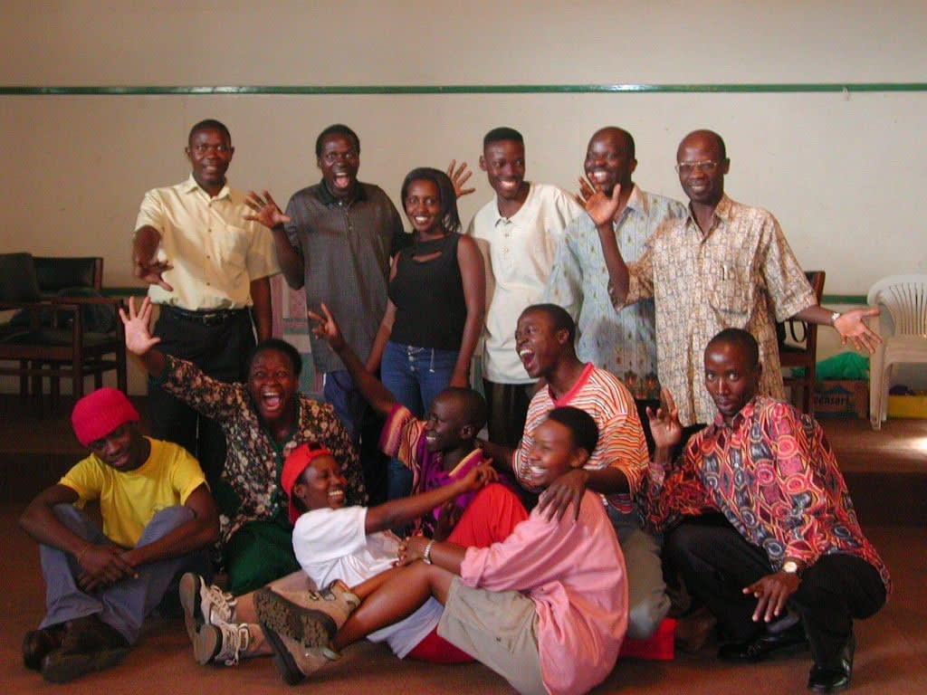 The cast of Lady Will you Marry Me at The National Theatre Kampala in 2002