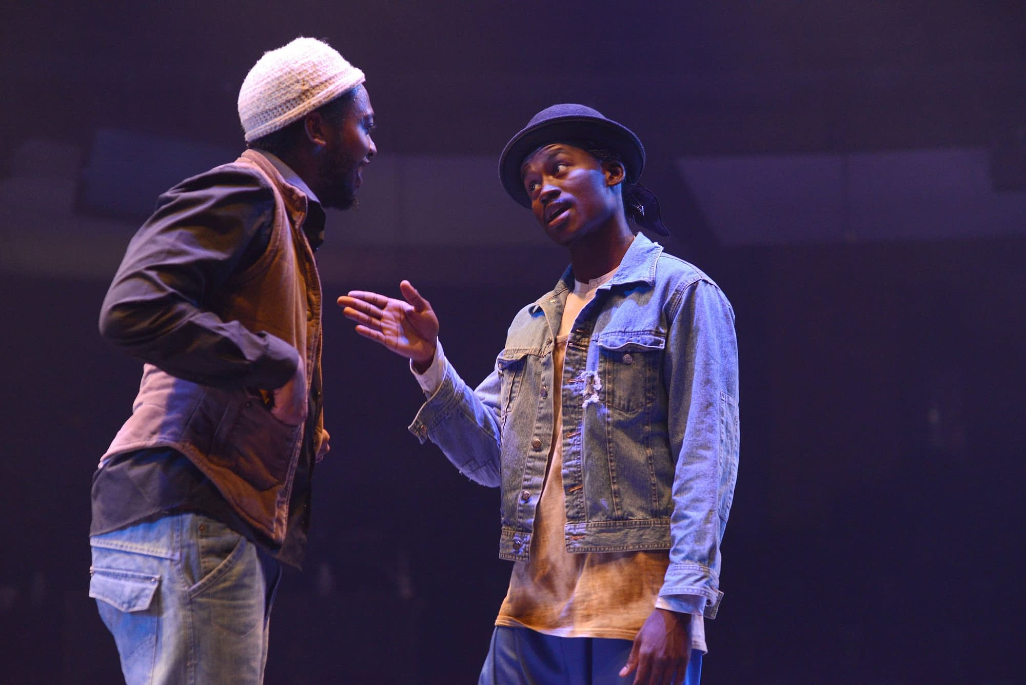 Kathu Ramabulana and Hungani Ndlovu in Pass Over directed by James Ngcobo at the Market Theatre (Photos by Suzy Bernstein)