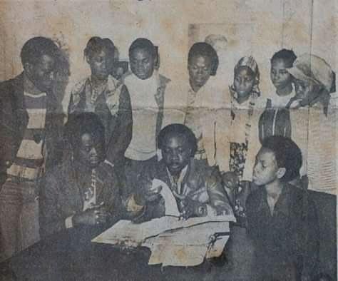 Robert Serumaga and some of the Abafumi actors