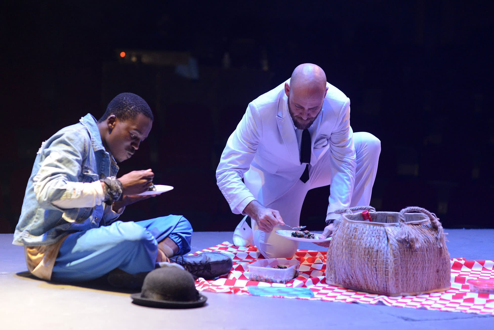 Pass Over directed by James Ngcobo and featuring Kathu Ramabulana, Hungani Ndlovu and Charlie Bouguenon at the Market Theatre (Photos by Suzy Bernstein)
