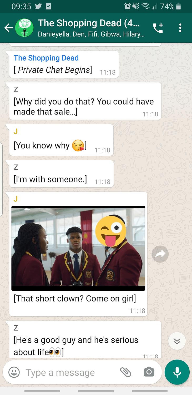 WhatsApp screenshots of The Shopping Dead