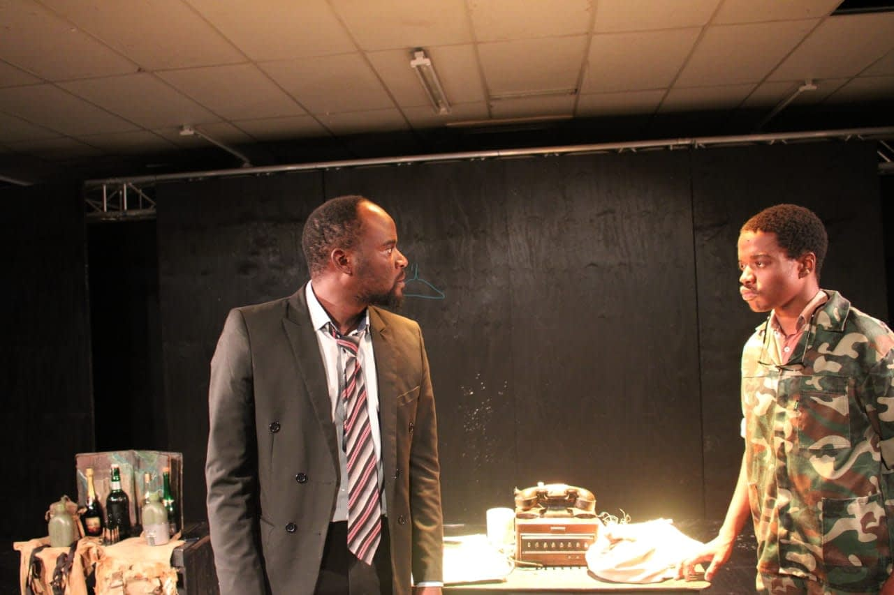 James Sithole and Thabang Chauke in The Tragedy of Samuel Omunye written and directed by Masai Sepuru at Tembisa Theatre Week at the TX Theatre in Thembisa. (Nolwazi Mahlangu)