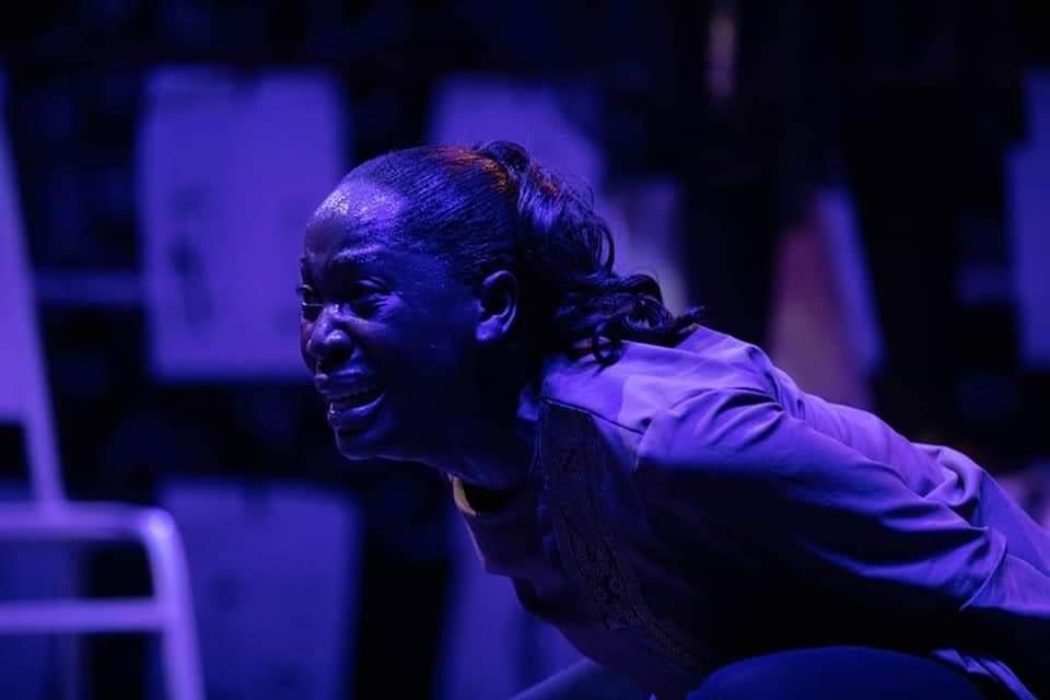 Ugandan actresses Rehema Nanfuka in Silent Voices Uganda's Niqabi Ninja at the National Theatre in Kampala (Photos by Zahara Abdul)